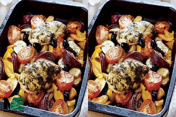 مرغ مدیترانه ای با سبزیجات