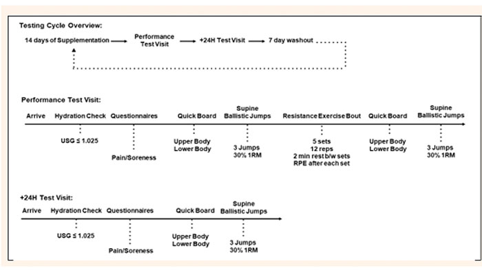 شکل (1). طرح آزمایش. آزمودنیها پس از مصرف 14 روز مکمل جینسینگ، 2 روز پشت سر هم آزمایش شدند.